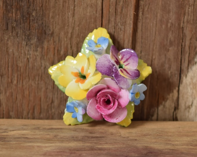 Flower Star Bone China Brooch - Spring Floral Pin