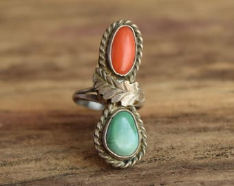 Green and Red - Size 5.5 - Holiday Turquoise Ring - Coral and Turquoise Ring - Two Stone Rings - Bohemian Christmas
