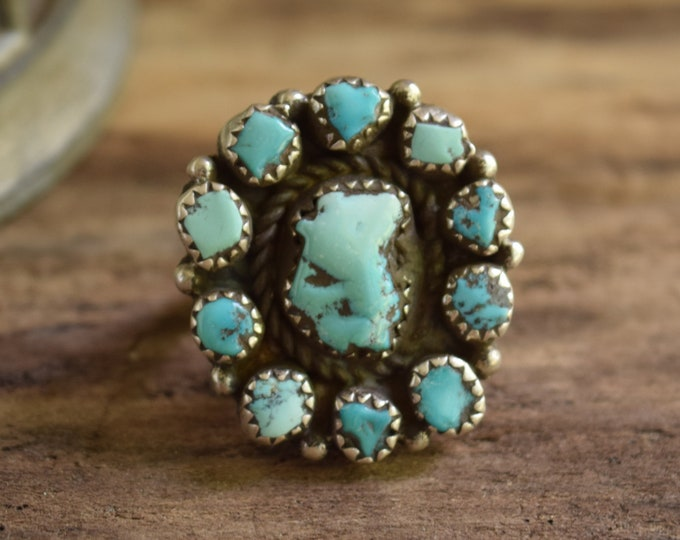 Pale Turquoise Cluster Ring Size 6
