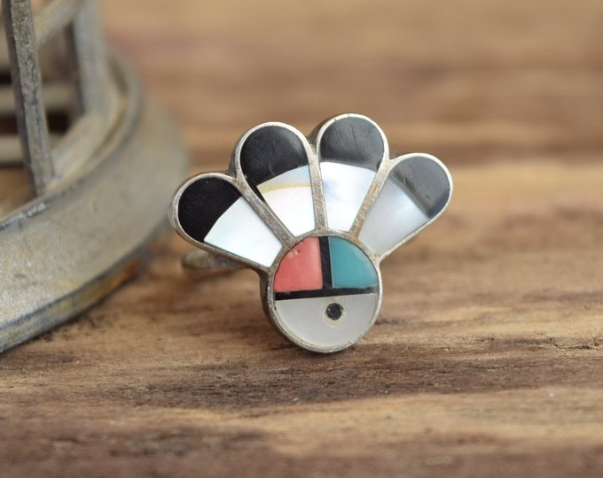 Sunface Inlay Zuni Ring - Size 7 3/4