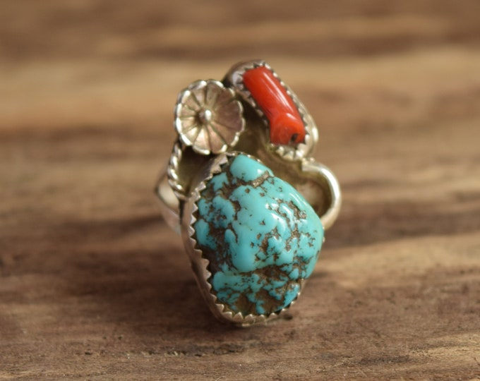 Turquoise Nugget and Coral Ring Size 7 1/4