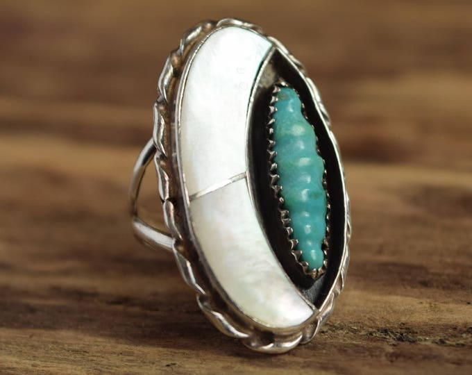 Cresent Moon Ring - Size 7 Silver Zuni Ring, Florentine Panteah, Turquoise Native American Ring, Half Moon Bohemian, Mother of Pearl