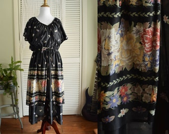 Black Floral Chiffon Tiered Dress - black 70s dress