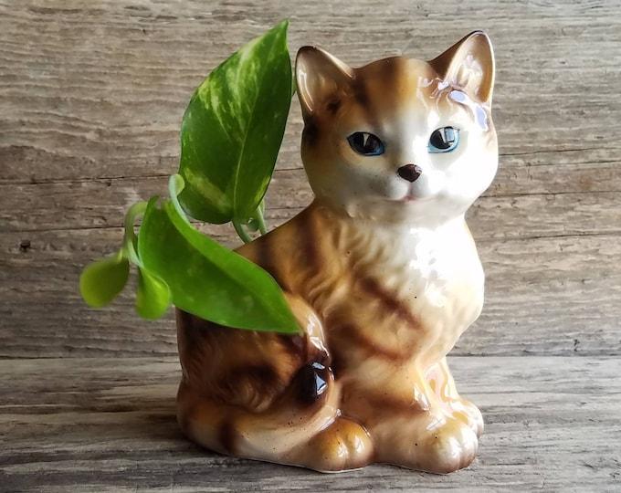 Small Cat Planter - Vintage Kitten