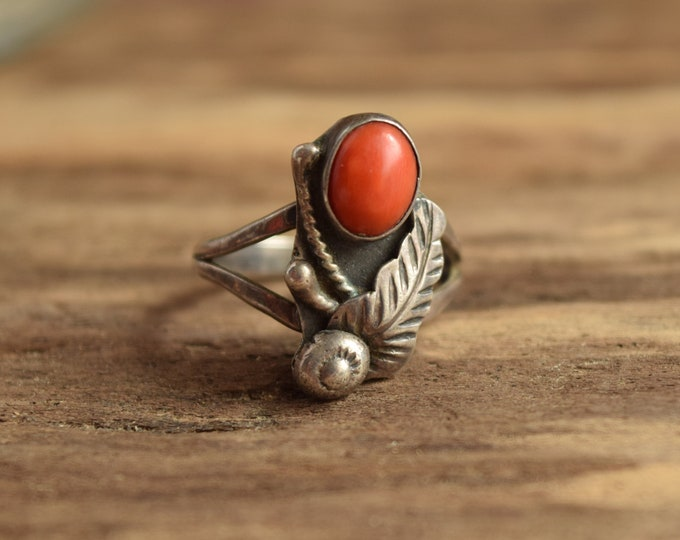 Red Coral Ring Size 7 Native American