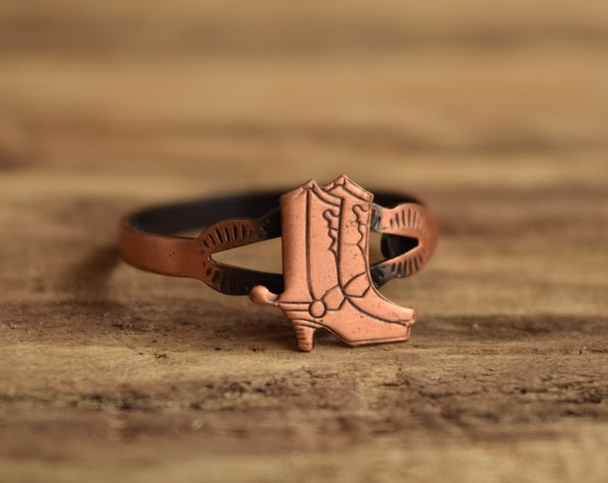 Cowboy Boot Ring - Size 7-11 Adjustable Copper Ring - Cowgirl southwestern jewelry