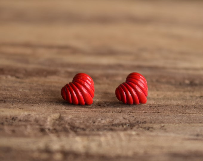Small Red Heart Stud Earrings