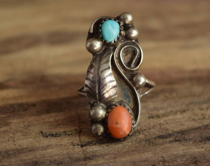 Rugged Dual Stone ring - size 5 - Coral and Turquoise ring