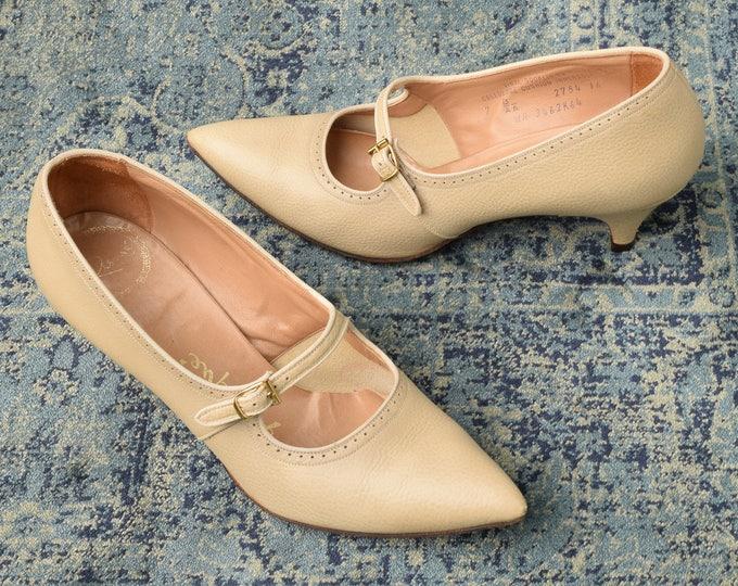 50s 60s Beige Heels - Size 7 B/AA - Nude Mary Jane Heels
