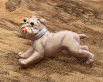 Vintage Dog Shaped Brooch - Mauve Faux Googly Eyed Dog Pin