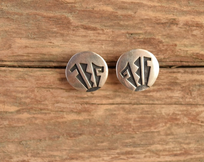 Hopi Silver Disc Earrings - Native American Studs