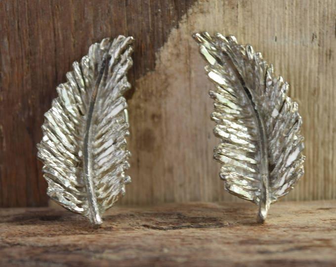 Feather Earrings - Vintage clip earrings