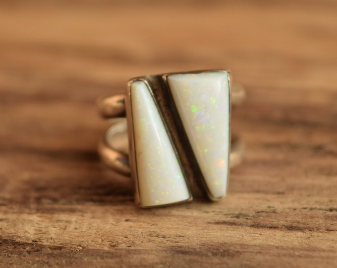 Opal Ring - Size 7 - Modernist Two Stone Opal