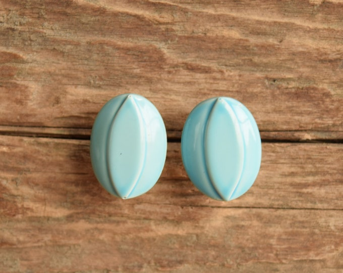 Sky Blue Oval Stud Earrings