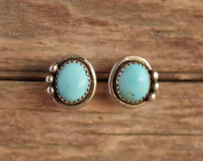 Pale Turquoise Stud Earrings - Signed Native American