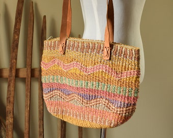 Colorful Woven Sisal Lined Market Bag - Leather Straps
