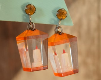 Candle Earrings - Novelty Screw Back Reverse Carved Lucite Earrings