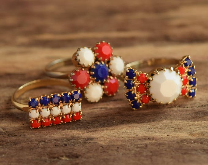 Red White and Blue Rhinestone Rings - Adjustable Rings - Opaque Rhinestones - Patriotic Colors - USA, France, Netherlands, UK,  Norway