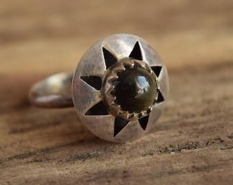 Black Stone Ring - Size 8 3/4 - Cocktail Ring - Modernist ring - Gothic Ring - Dark stone rings