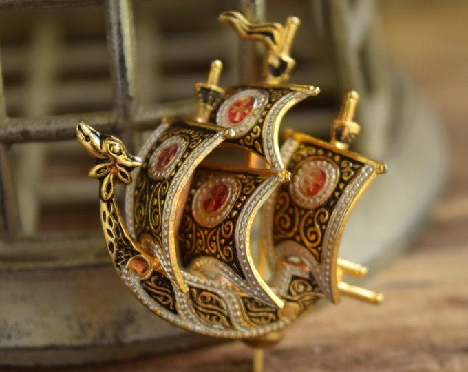 Spanish Galleon Brooch - Spain Ship Pin
