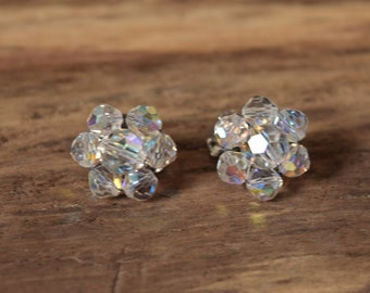 Crystal Cluster Clip On Earrings