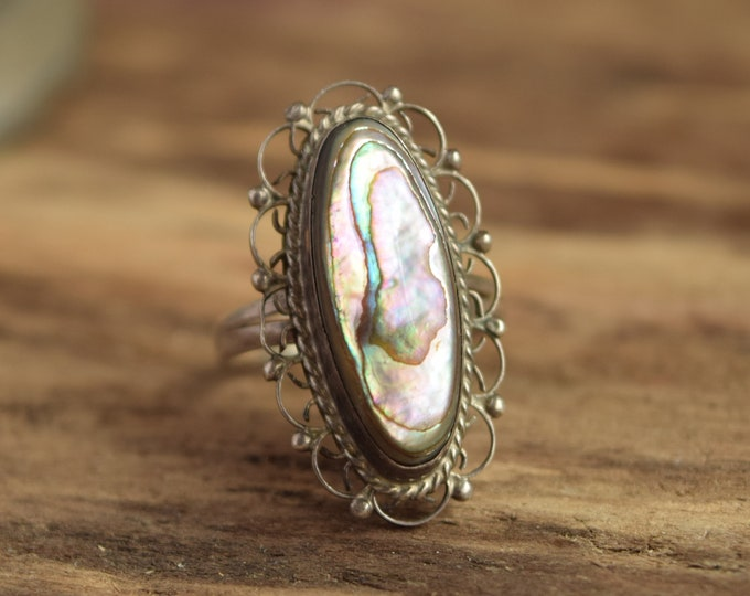 Abalone Shell Ring - Size 8 Mexican Silver
