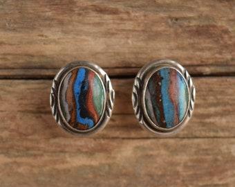 Rainbow Calsilica Southwestern Stud Earrings