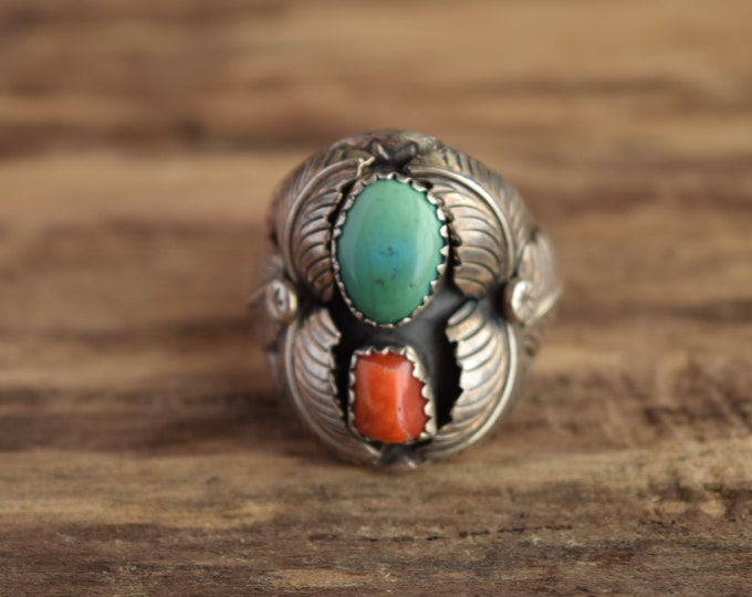 Size 9 Turquoise and Coral Navajo Ring