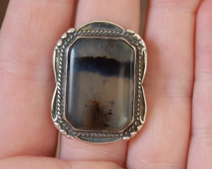 Rectangle Agate Ring Size 7 3/4
