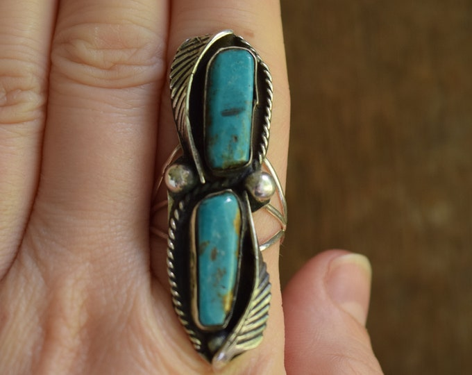 Long Dual Turquoise Ring - Size 10