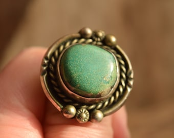 Chunky Round Turquoise Ring - Size 6.75