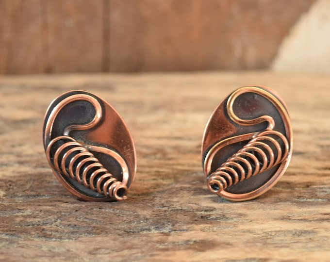 Copper Clip On Earrings - Oval Modernist