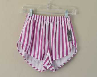 70s Striped High Waist Athletic Shorts