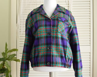 Green Purple Plaid Jacket - Pendleton Knockabouts -