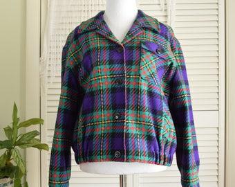 Green Purple Plaid Jacket - Pendleton Knockabouts -