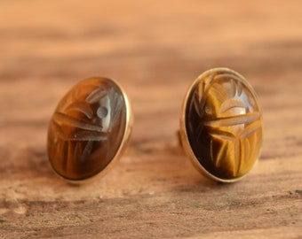 Scarab Earrings - Carved Tiger's Eye 12k gold filled Studs