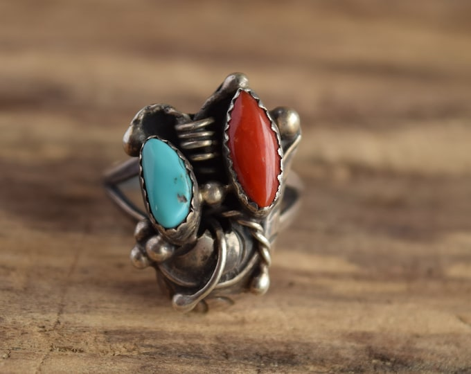 Size 9 Turquoise and Coral Native American Ring