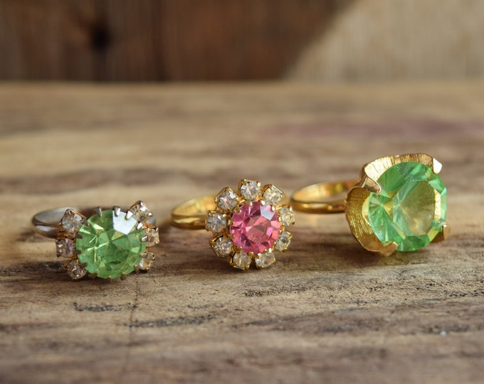 Pink or Green Cocktail Rings - You Pick - Adjustable Rhinestone Rings
