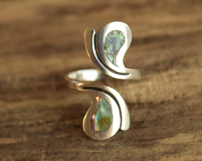 Abalone Sterling Silver Bypass Ring by Taxco - Size 8+