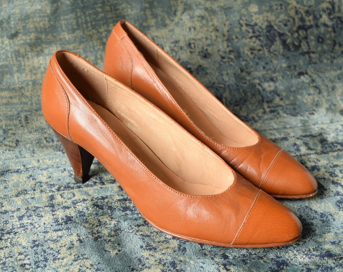 Tan pumps - Size 6.5 - Stacked Heel pumps - Work shoes - Tan Leather Pumps - Simple Vintage heels - Brown Leather Heels