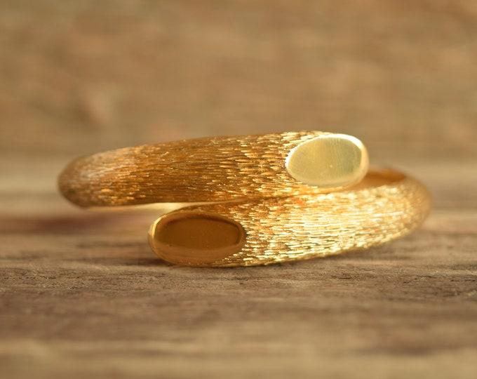 Gold Hinged Wrap Bracelet - Vintage Trifari