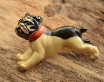 Vintage Dog Brooch -  Bulldog Boxer Pin