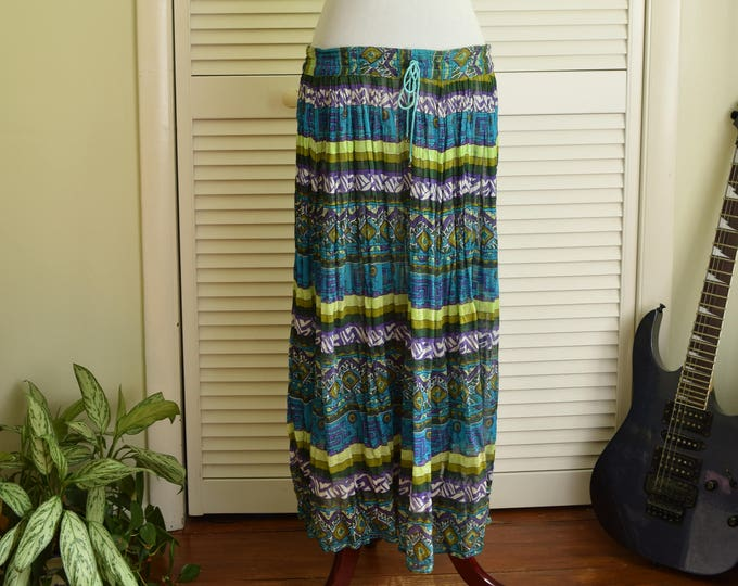 Blue Bohemian Maxi Skirt - 100% Cotton