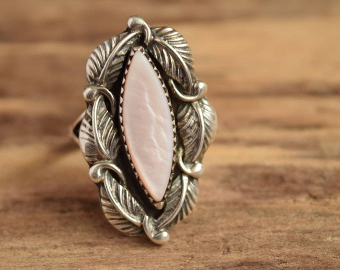 Marquise Native Ring - Size 9 - Signed Robert Becenti  Navajo Shell Ring