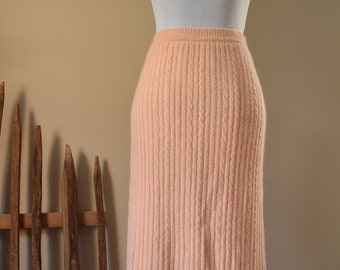 Peach Cable Knit Skirt - Lambswool & Angora Size Medium