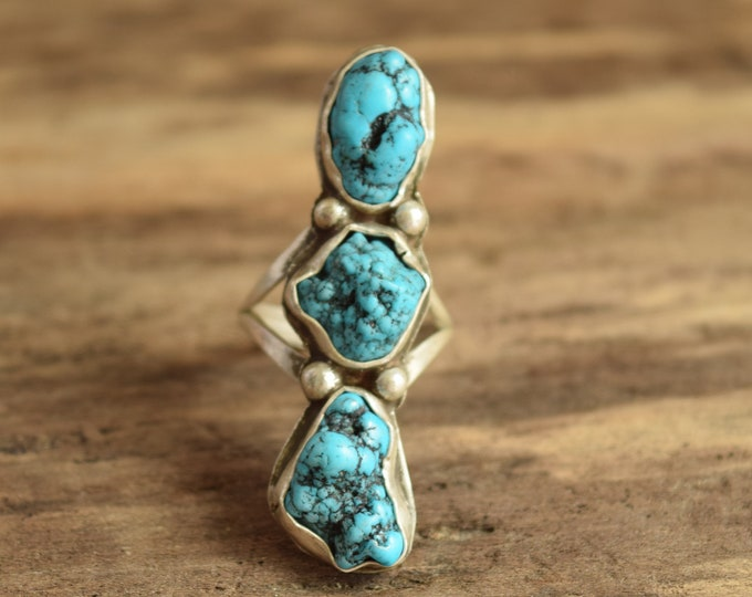 Turquoise Three Stone Nugget Ring Size 5