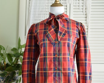 Red Plaid Pussy Bow Shirt - Levi Strauss & Co - Plaid Blouse