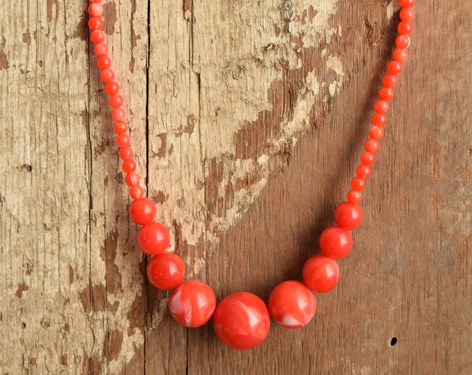 Cherry Red Marbled Graduated Bead Necklace - Bauble Bead Necklace