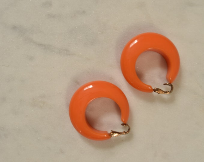 Orange Bakelite Hoop Clip On Earrings