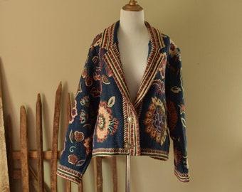 Blue Floral Tapestry Jacket